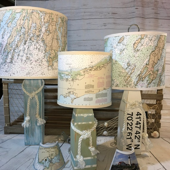Small Buoy Lamp with Actual Nautical Chart Lampshade