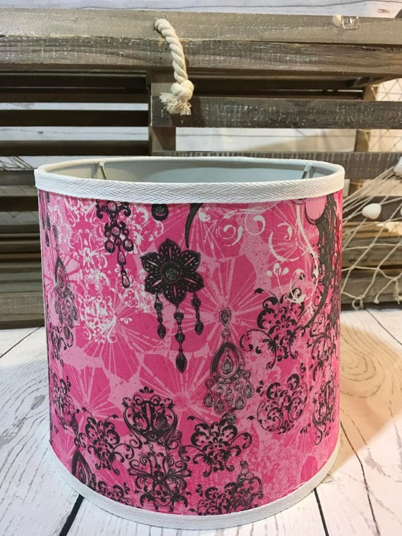 """Clearance - Last One - Small Fabric Lampshade - Pink Cupid Love Print - 8"""" x 9"""" x 8""""  Round Uno Style"""