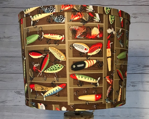 "N023 Medium Fishing Lures Fabric Lampshade -  10"" Round"