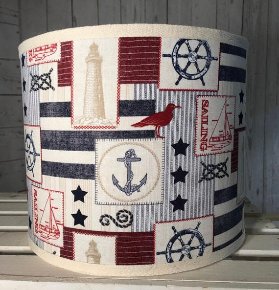 "Medium Patriotic Sea Fabric Lampshade - 10"" Round"