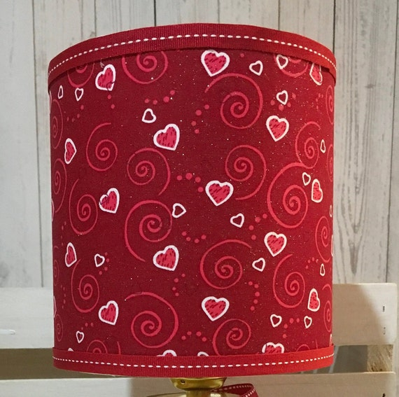 "Extra Small Fabric Lampshade - Valentine Day Red Hearts Print - 6"" Round"