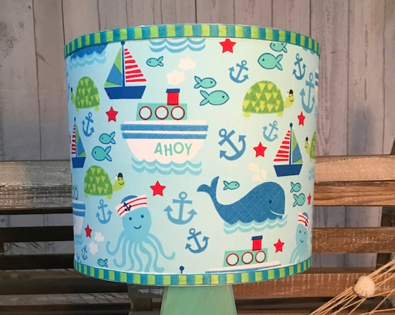"Small Ahoy Fabric Lampshade - 8"" Round"