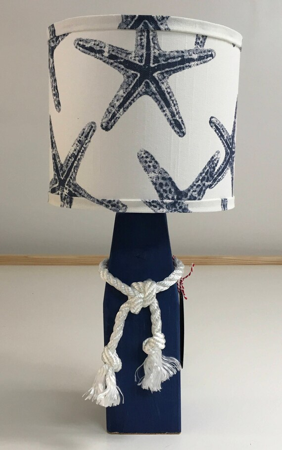 Small Buoy Lamp with Starfish Fabric Lampshade