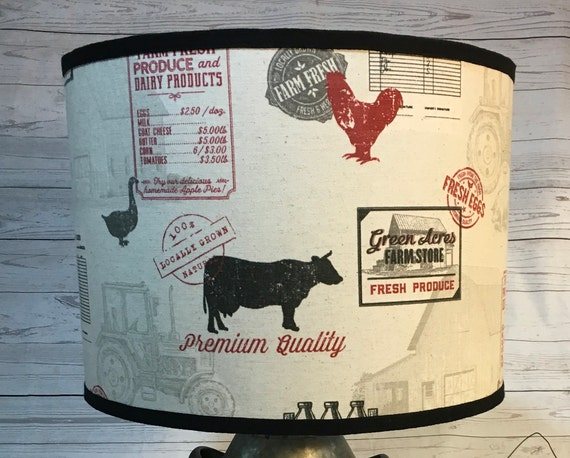 "N031 Small Farmhouse (Red) Fabric Lampshade -  8"" Round"