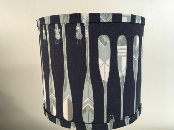 "N015 Large Oars Fabric Lampshade -  Navy-  13"" Round"