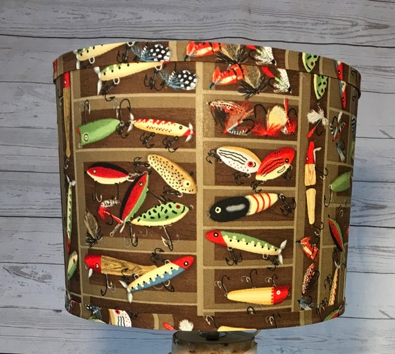 "N024 Large Fishing Lures Fabric Lampshade -  13"" Round"