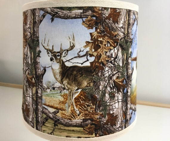 """N025 Small Wildlife Lovers Fabric Lampshade - 8"""" round"""