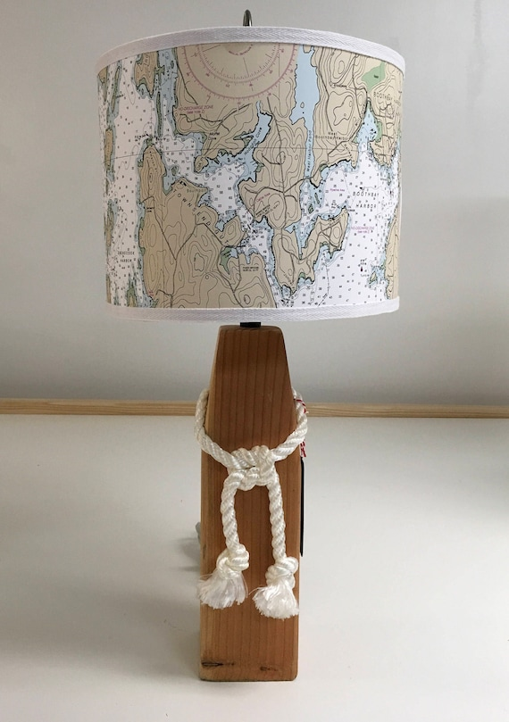 Medium Buoy Lamp with Nautical Chart Lampshade