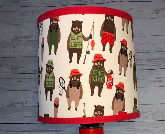"N018 Large Brawny Bears Fabric Lampshade -  13"" Round"