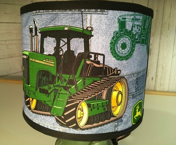 "N035 Medium John Deere Denim Fabric Lampshade - 10"" Round"