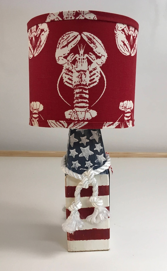 Small Buoy Lamp with Red Lobster Fabric Lampshade