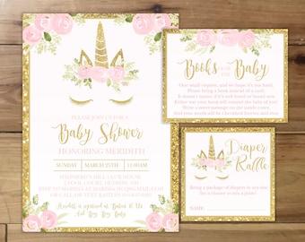 Unicorn baby shower invitation etsy unicorn baby girl shower invitation with books for baby and diaper raffle cards custom digital file pink gold glitter and roses filmwisefo