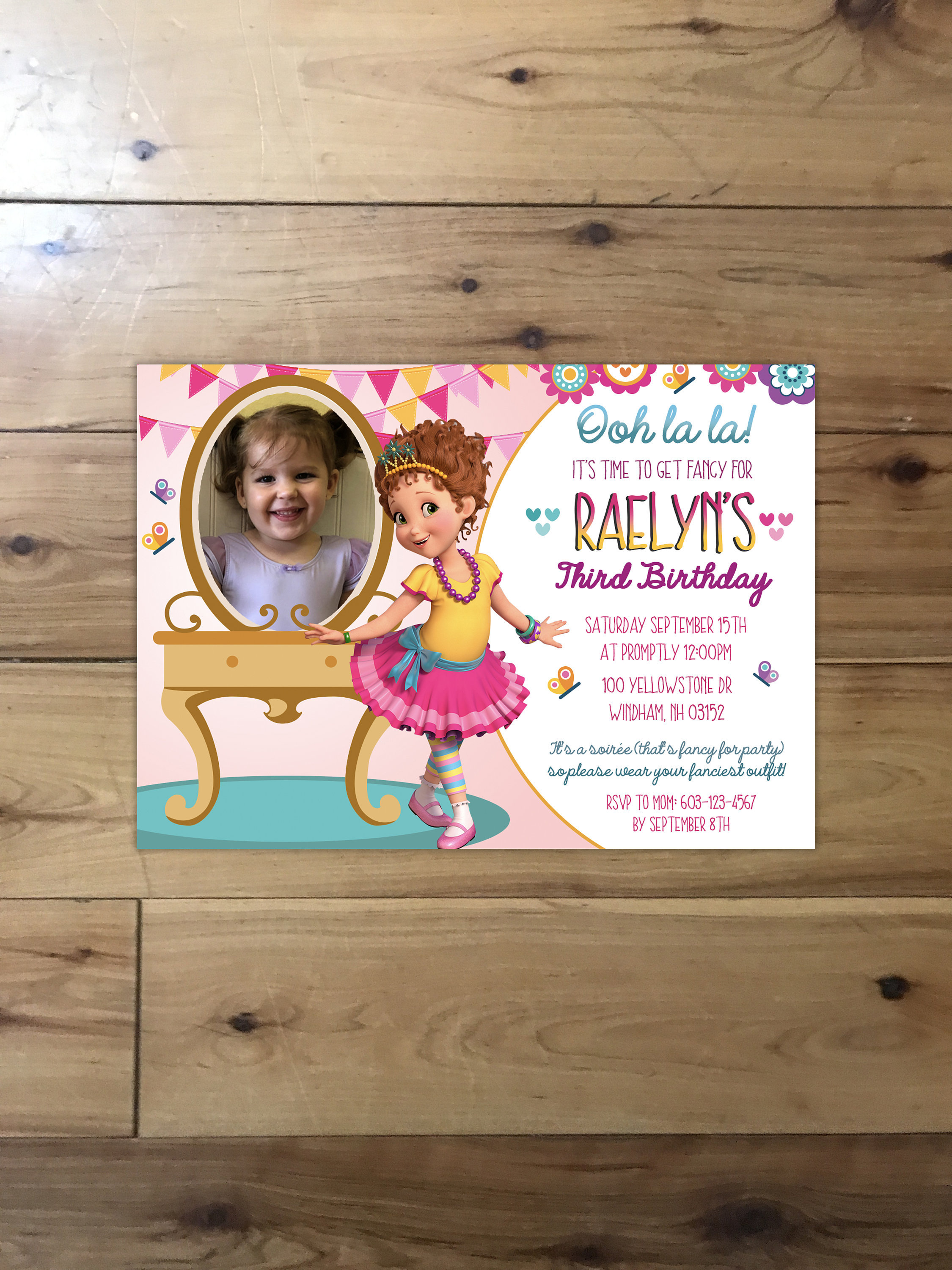 New Disney Jr Fancy Nancy Birthday Invitation With Photo Ooh Etsy