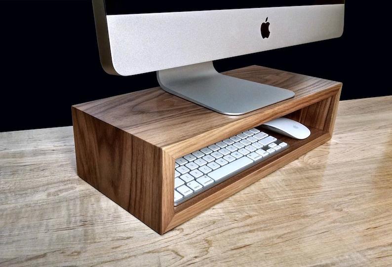 Walnut Monitor Stand Desk Organizer Computer Riser Etsy