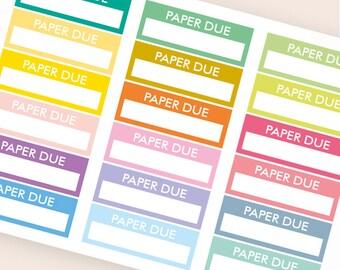 18 blank stickers, paper due bar sticker, box stickers, blank label, planner stickers, scrapbook reminder happy planner sticker
