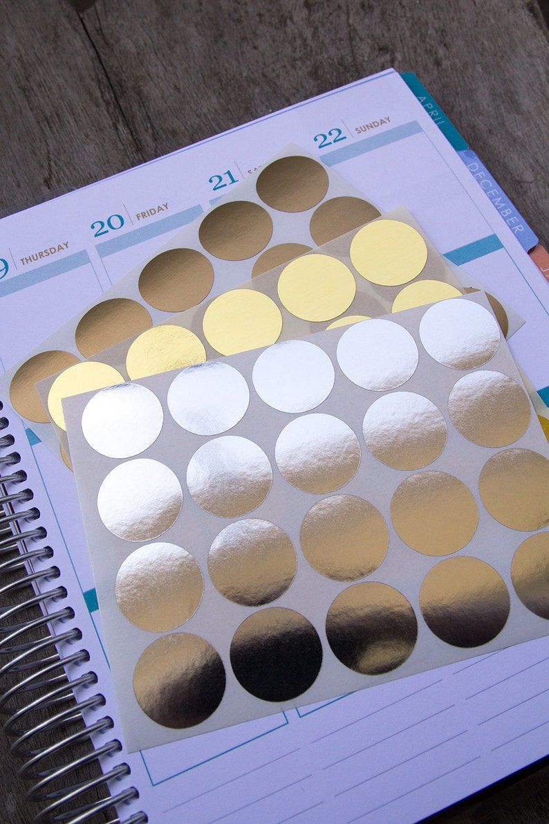 60 metallic circle stickers silver gold geometric stickers etsy