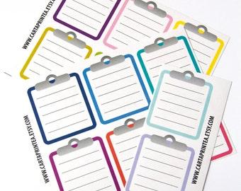 14 clipboard sticker, to do list stickers, checklist stickers, planner stickers, reminder, square sticker eclp filofax happy planner kikkik