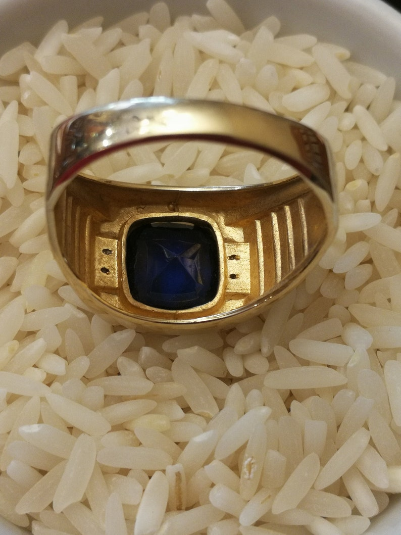 10K Gold Men/'s Synthetic Sapphire Ring