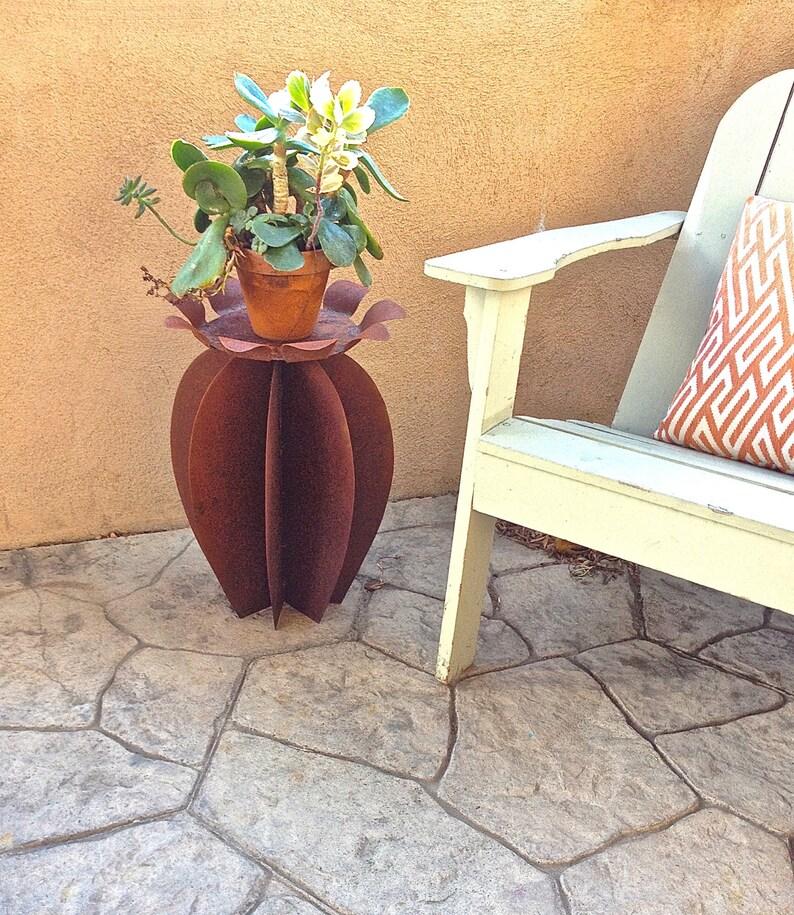 Cactus Side Table Flower Metal Yard Art Southwestern Decor ...