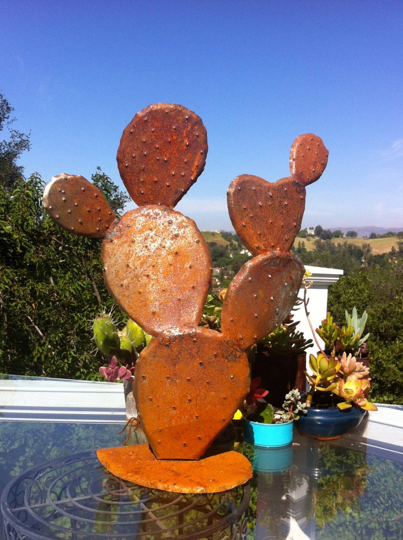 Nopal Stahl Kaktus Garten Sie Kunst Metall Skulpturen Etsy