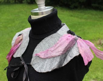 Felted collar, extra fine merino and silk