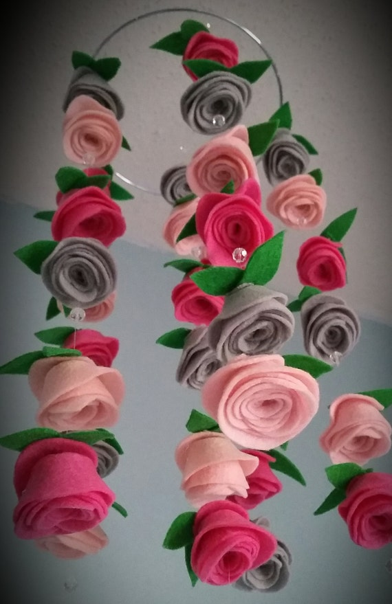 Felt Flower Hanging Crib Rose Mobile Candy Pink Baby Pink