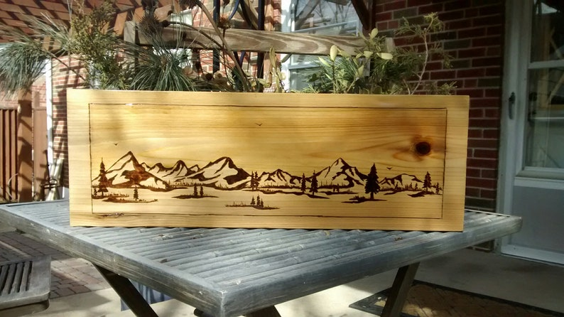 Pyrography, Wood burning art, Mountain abstact, Pine scene, Landscape art,  Bonzai art abstact