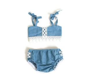 8c974de796 Denim and lace toddler girl bathing suit