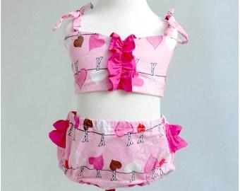 Girl swimsuit - Handmade toddler bathing suit - Wholesale two pieces ruffle bikini - 6m 12m 24m 3T 4T 5T 6T - Kid boutique Beach Pool Suit