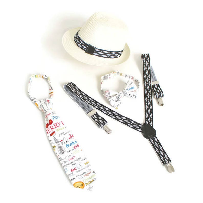 adf97e43343 CHEF Neck Tie   Bow tie   Suspenders   Fedora hat Boy Set 6m