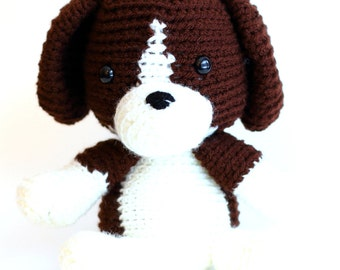Adorable Brown and White Crochet Beagle Toy