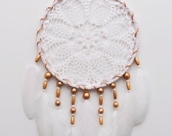 Crochet White Doily Large Gold beads Dream Catcher White wall decor dreamcatcher boho dreamcatchers wedding decor wall hanging handmade