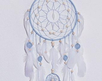 Blue dream catcher Large dreamcatcher dreamcatchers boho style dream catchers  Heavenly dream Blue White feathers wooden beads  wedding