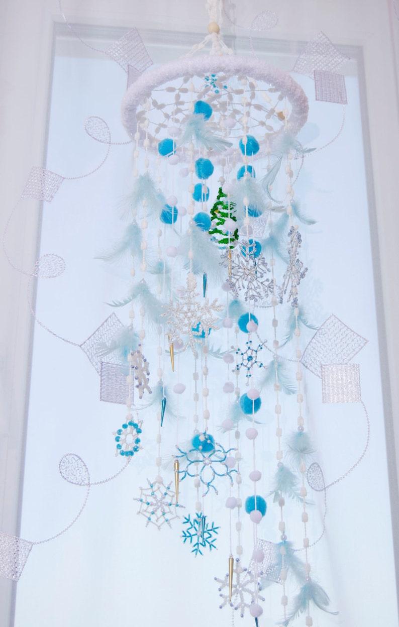 Bon Fairy Christmas Mobile Nursery Bаbу Decor Beaded Snowflake Bedroom Mobiles  Winter Dream Catcher Babies Snow Crib White Blue Baby Girl Boy