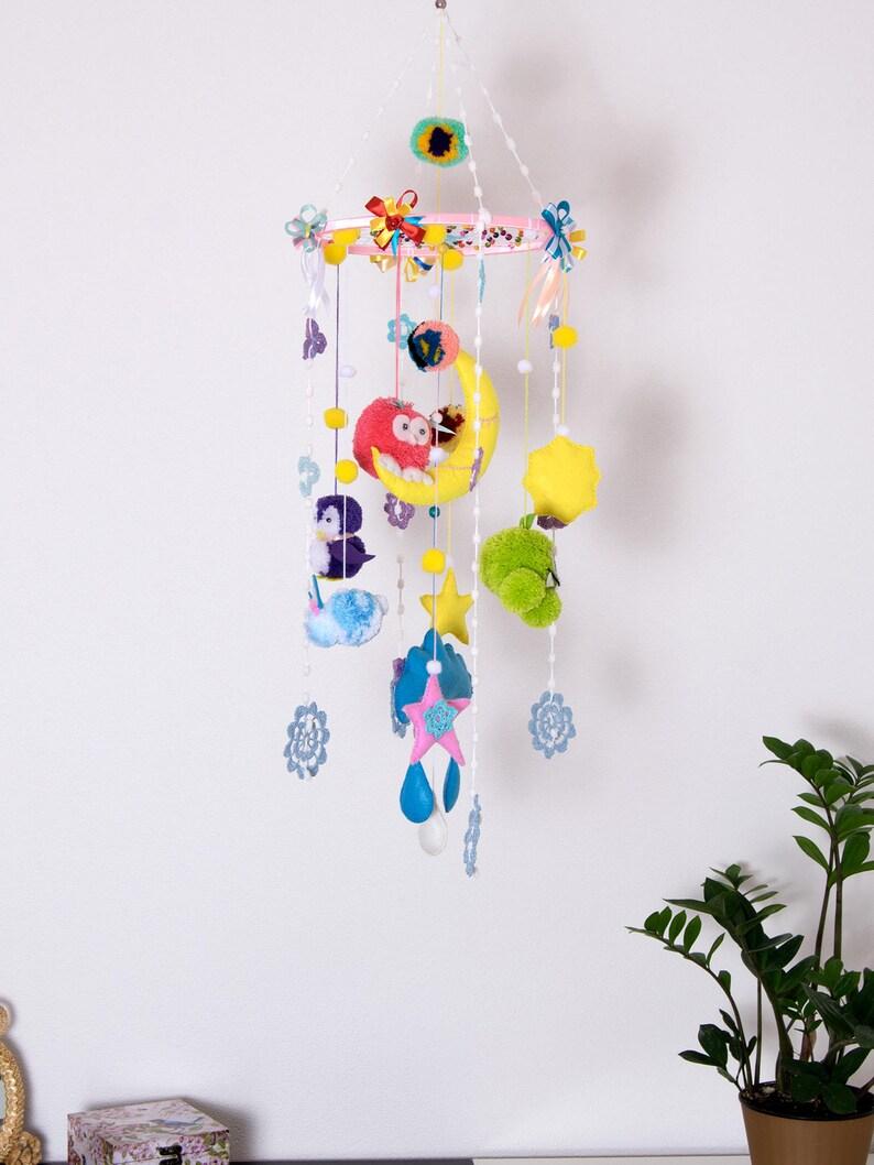 cffb933a2d713 Baby mobiles Pom Pom Nursery Mobile Crib Felt Colorful Toys Kids Room Decor  Cheerful Gift ideas Bedroom Boho Dream catcher girl boy handmade