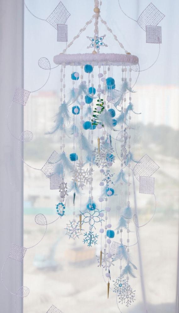 Fairy Christmas Mobile Nursery Bаbу Decor Beaded Snowflake Bedroom Mobiles  Winter Dream Catcher Babies Snow Crib White Blue Baby Girl Boy