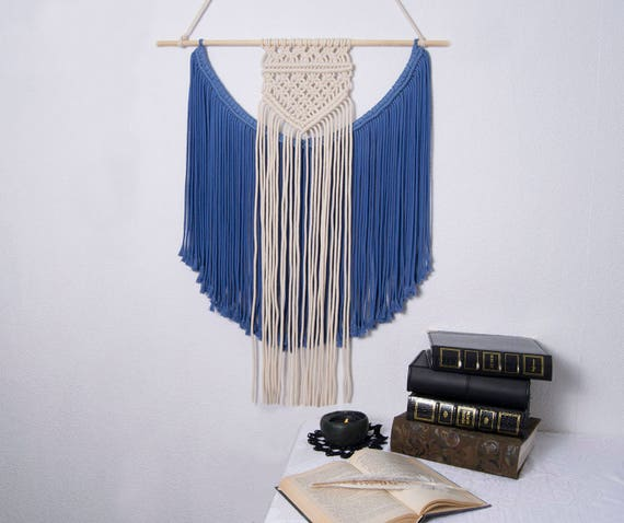 Medium Macrame Blue Wall Hanging Boho Macrame Art Wall