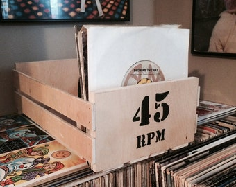 45 rpm Wooden Storage Crate (with Customizable Lettering)