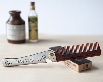Man Comb 'Original'/Bottle Opener. The ultimate tool for your hair, beard and beer. Men's Gift. Folding comb. Gift for guys