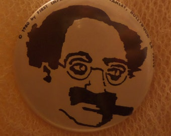 Vintage Charlie Chaplin Groucho Marx Wanted Old Clocks Peaches Records and Tapes Vox Rules buttons or pins