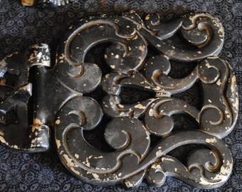 Large heavy Metal gate bracket hinges marked 2F-55