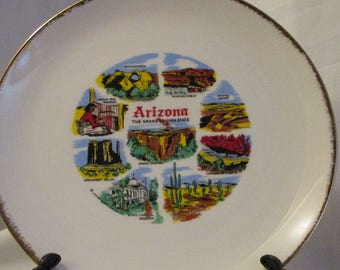 Vintage Arizona State Decorative collectible plate by Homer Laughlin