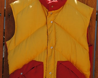Alpine Designs down feather vest- red and yellow