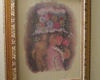 Framed A. Gruerio Print Girl in flowered hat smelling flower