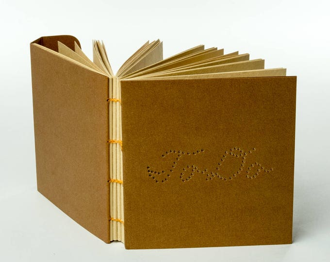 "TO DO | hand-punched copper cover 120 ~4x4"" manila pages with clasp closure"