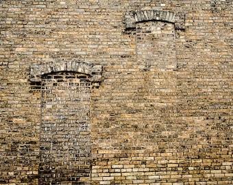 TWO BRICK WINDOWS   photograph