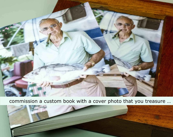 YOUR CUSTOM COVER | handmade coptic bound blank book diary journal keepsake notebook w/ your personal artwork image photo | aBoBoBook 1677