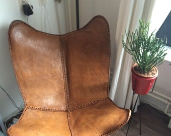 Hand made Butterfly chair , leather chair -rich dark brown