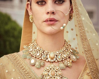 Indian Nose Ring Nath Pakistani Jewelry Designer Jewellery Etsy