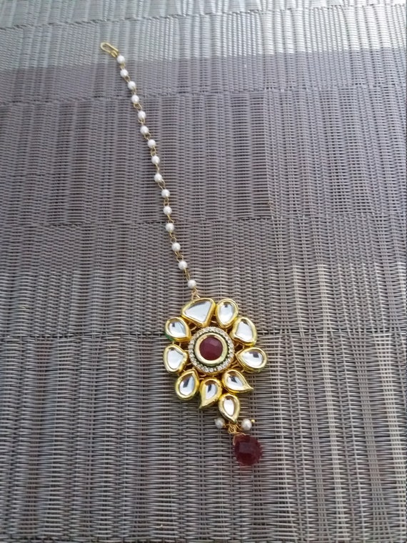 Indian Jewelry Kundan Tika Maang Tikka Head Jewellery Etsy
